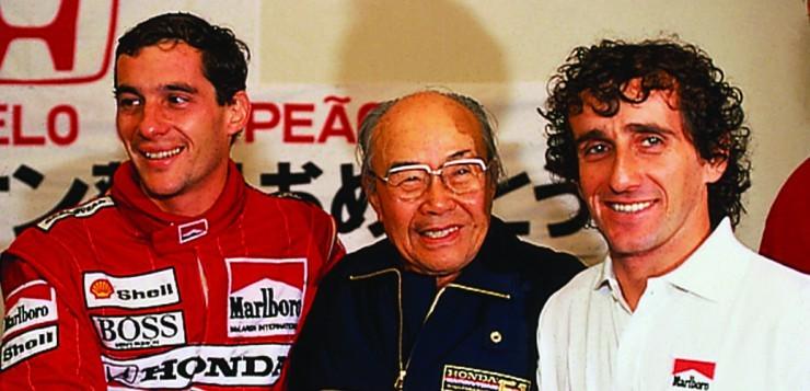 Soichiro Honda mit den ehemaligen F1-Fahrern Ayrton Senna und Alain Prost