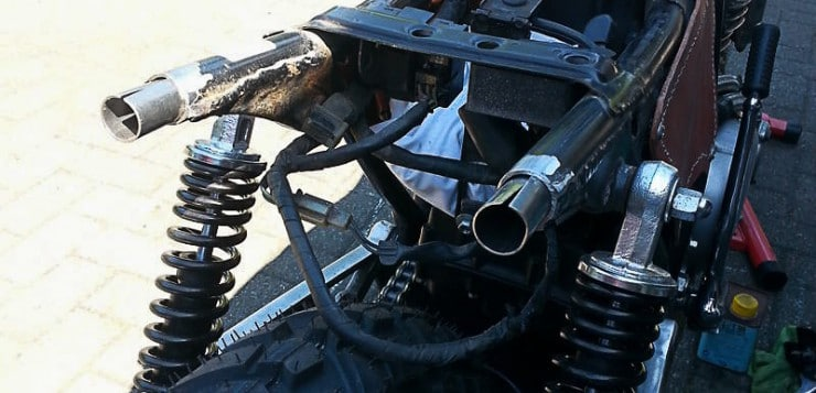 Das Heck der Honda XBR 500 wurde gekürzt