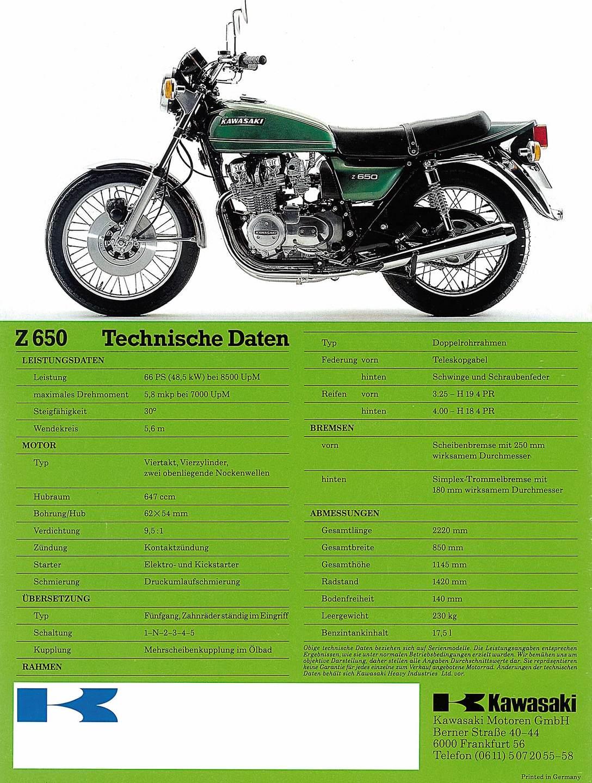 kawasaki z 650 prospekt 1976 die neue motorradklasse. Black Bedroom Furniture Sets. Home Design Ideas