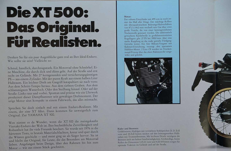 Yamaha XT 500 Prospekt 1983