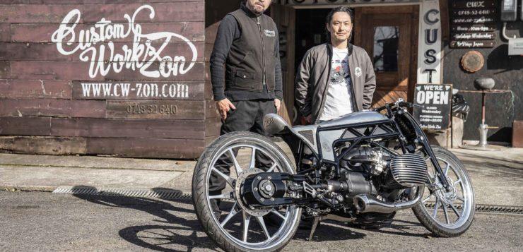 Yuichi Yoshizawa und Yoshikazu Ueda mit ihrem Custom BMW 1800 Boxer
