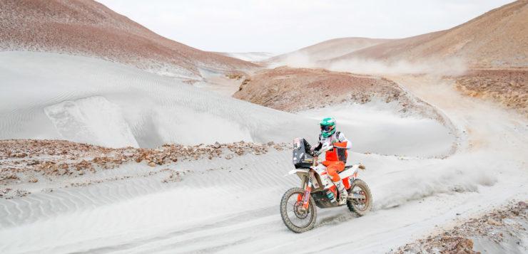 Impressionen von der 4. Etappe der Dakar Rallye 2019: Mario Patrao aus Portugal auf KTM