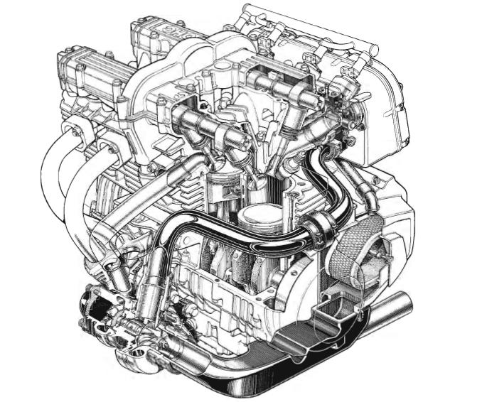 Schnittzeichnung des Kawasaki Z 750 Turbo Motors