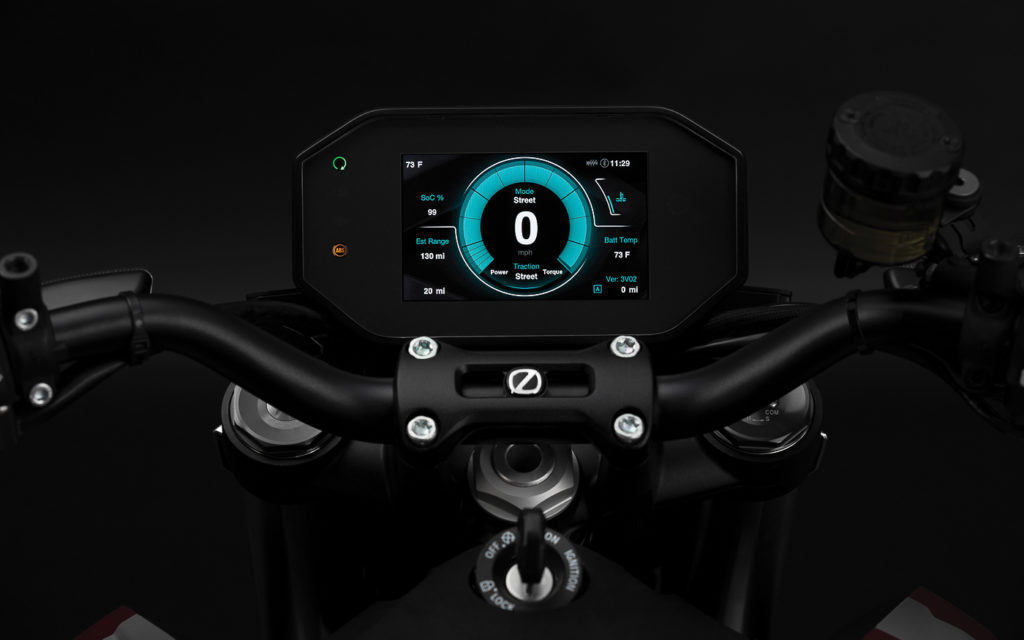 Digitales Cockpit der Zero SR/F mit individueller Anzeigegestaltung