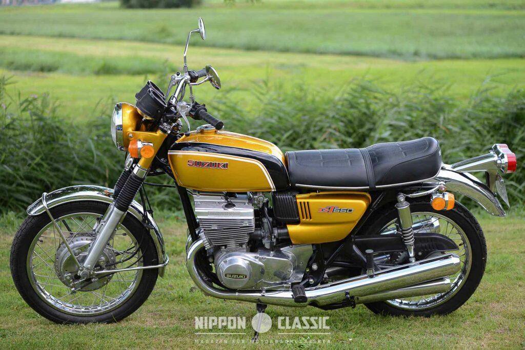 """Die Suzuki GT 550 kam 1972 auf den Markt - u.a. in """"Aztec Gold"""