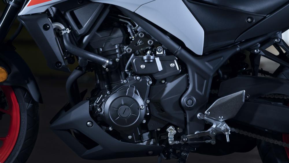 Der Zweizylindermotor der MT-03 bleibt unverändert