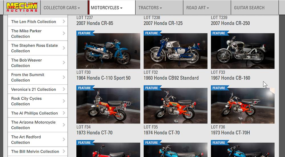 Ausschnitt der 100 Honda-Motorräder von Maloney, die in Las Vegas versteigert werden