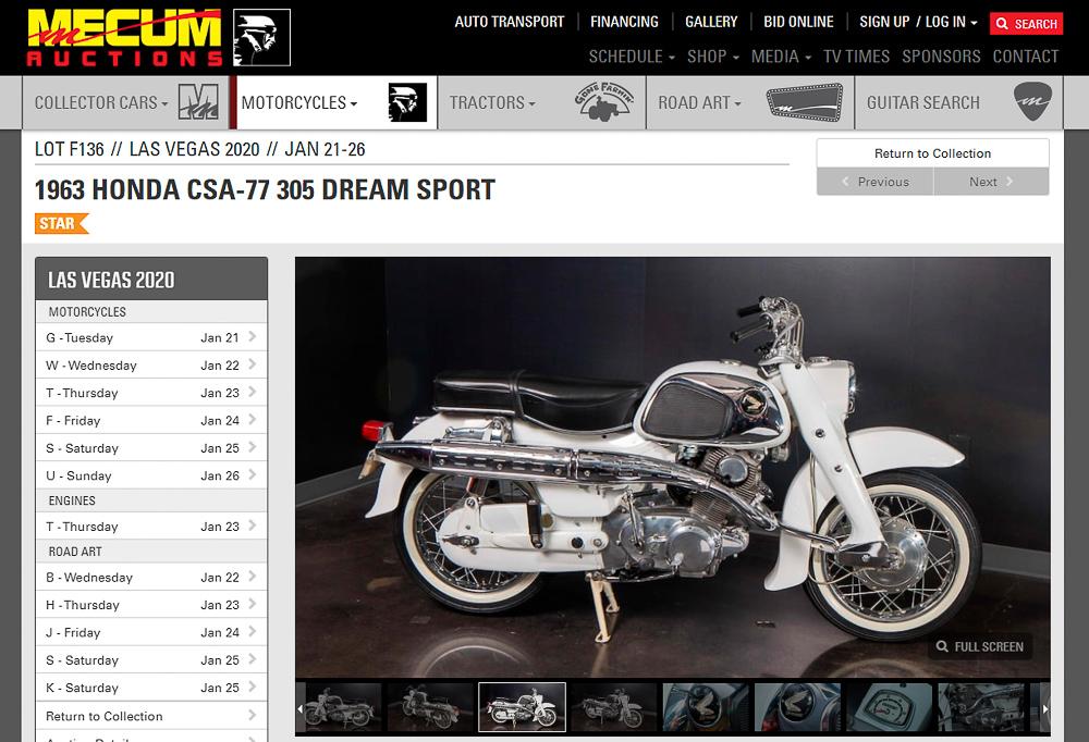 1963er Honda CSA-77 305 Dream Sport, die in Las Vergas bei Mecum versteigert wird
